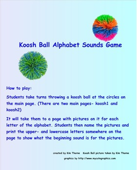 Beginning Sounds Koosh Ball Smartboard game