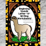 Beginning Sounds: Write Letter A (Handwriting Practice Worksheets)