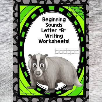 Beginning Sounds: Write Letter B (Handwriting Practice Worksheets)