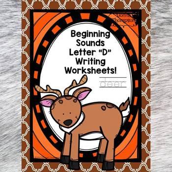 Beginning Sounds: Write Letter D (Handwriting Practice Worksheets)