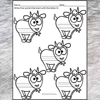 Beginning Sounds: Write Letter G (Handwriting Practice Worksheets)