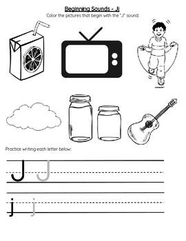 Beginning Sounds Letter J