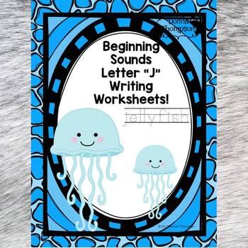 Beginning Sounds: Write Letter J (Handwriting Practice Worksheets)