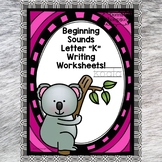 Beginning Sounds: Write Letter K (Handwriting Practice Wor