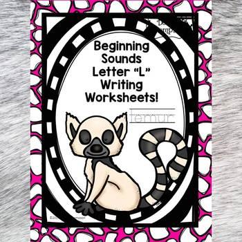 """Beginning Sounds """"Letter L"""" (Writing Worksheets)"""