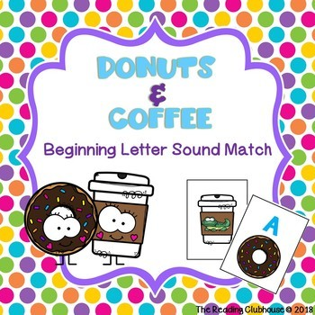 Beginning Sounds Letter Match - Donuts & Coffee