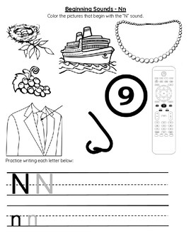 Beginning Sounds Letter N