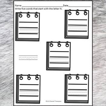 Beginning Sounds: Write Letter N (Handwriting Practice Worksheets)