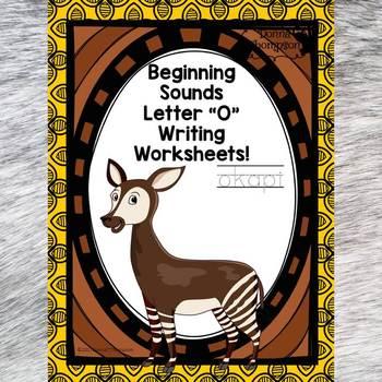 "Beginning Sounds ""Letter O"" (Writing Worksheets)"