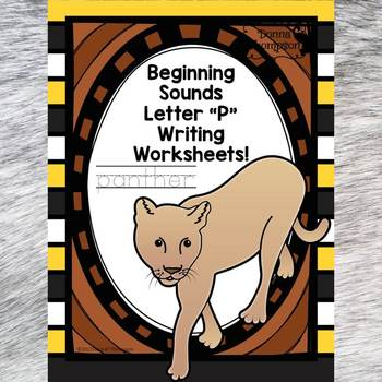 Beginning Sounds: Write Letter P (Handwriting Practice Worksheets)