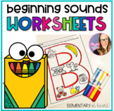 Beginning Sounds Identification- Alphabet Letters Independent Work Packet