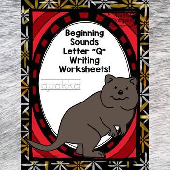 "Beginning Sounds ""Letter Q"" (Writing Worksheets)"