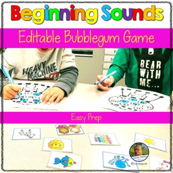 Beginning Sounds and Letter Recognition Bubble Gum Game Editable
