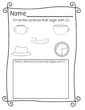 Beginning Sounds Letter Review Sheets