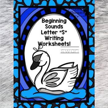 "Beginning Sounds ""Letter S"" (Writing Worksheets)"