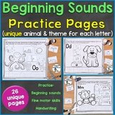 Beginning Sounds (Phonics) Practice Pages No Prep, 26 Unique Pages + Answer Keys