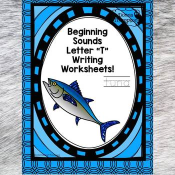 Beginning Sounds: Write Letter T (Handwriting Practice Worksheets)