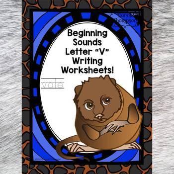 Beginning Sounds: Write Letter V (Handwriting Practice Worksheets)