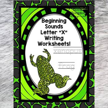 Beginning Sounds: Write Letter X (Handwriting Practice Worksheets)