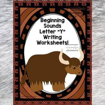 Beginning Sounds: Write Letter Y (Handwriting Practice Worksheets)