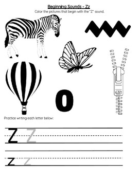 Beginning Sounds Letter Z