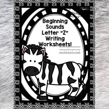 Beginning Sounds: Write Letter Z (Handwriting Practice Worksheets)