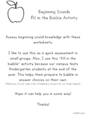 Beginning Sounds - Letter to Picture Match (Fill in the Bubble Activity)