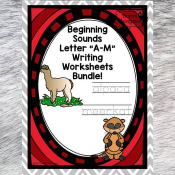 """Beginning Sounds Bundle """"Letters A to M"""" (Handwriting Practice)"""
