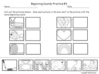 Beginning Sounds Literacy Center and Printables