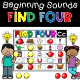 Beginning Sounds Literacy Game Find Four Activity