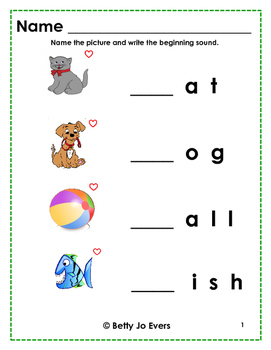 Beginning Sounds Love Those Words
