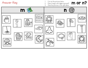 Beginning Sounds M and N Sort Worksheet