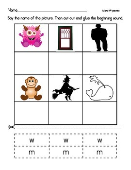 Beginning Sounds M and W-denelian and basic print