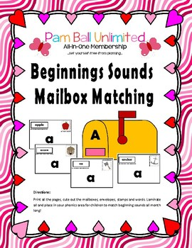 Beginning Sounds Mailbox Matching