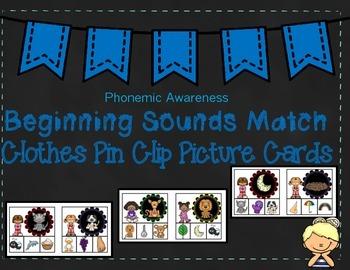 Beginning Sounds Match Clothes Pin Cards