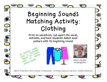 Beginning Sounds Match: Clothing