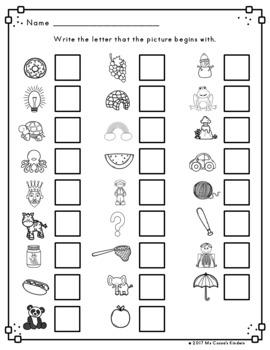 Beginning Sounds Literacy Center - Fall Trees