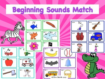 Beginning Sounds Match Game and Tracking Sheet