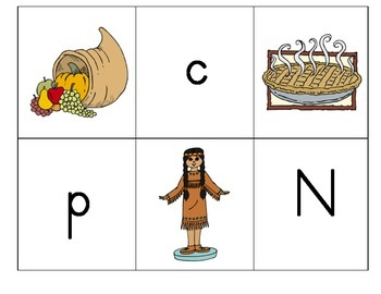 Beginning Sounds Match: Thanksgiving