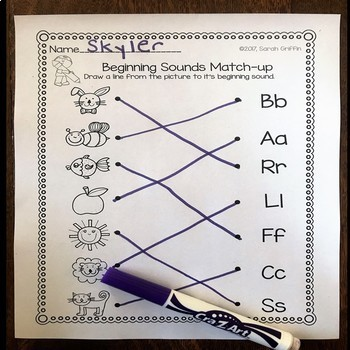 Beginning Sounds Match Up ~ Worksheets