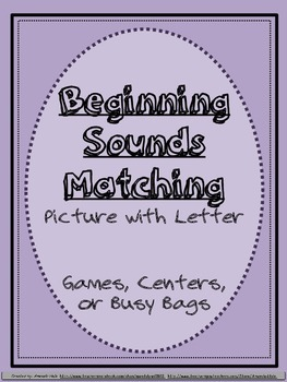 Beginning Sounds Matching Picture with Letter