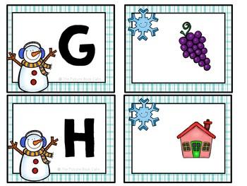 Beginning Sounds Matching-Snowman Themed