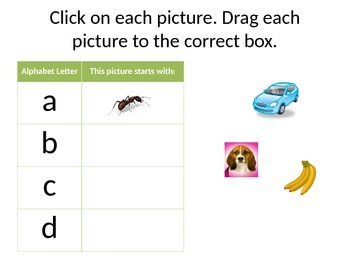 Beginning Sounds Matching in Power Point