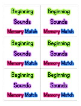 Beginning Sounds Memory Match