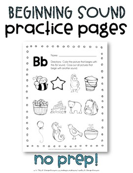 Beginning Sounds {No Prep} Printable Pack