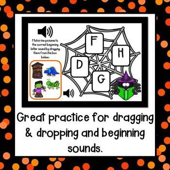 Beginning Sounds (October Theme) Drag and Drop BOOM CARDS (Digital)