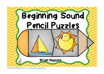 Beginning Sounds Pencil Puzzles (Phonemic Awareness)