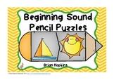Beginning Sounds Pencil Puzzles (Phonemic Awareness)