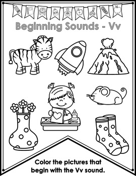 Color By Beginning Sounds Pennants and Banners - Alphabet