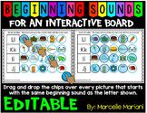 Beginning Sounds-Phonemic Awareness Interactive Literacy PowerPoint- EDITABLE